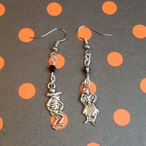 Handmade Skeleton Couple Dangle Earrings